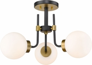 Z-Lite 477-3SF-MB-OBR Parsons Contemporary Matte Black / Olde Brass Ceiling Lighting