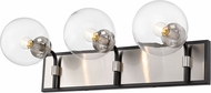 Z-Lite 477-3V-MB-BN Parsons Contemporary Matte Black / Brushed Nickel 3-Light Bathroom Vanity Light Fixture