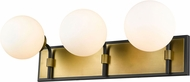Z-Lite 477-3V-MB-OBR Parsons Contemporary Matte Black / Olde Brass 3-Light Bathroom Wall Sconce
