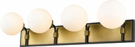 Z-Lite 477-4V-MB-OBR Parsons Contemporary Matte Black / Olde Brass 4-Light Vanity Lighting
