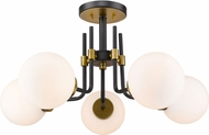 Z-Lite 477-5SF-MB-OBR Parsons Contemporary Matte Black / Olde Brass Ceiling Light Fixture