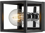 Z-Lite 480-1S-MB-CH Kube Contemporary Matte Black / Chrome Wall Sconce Light