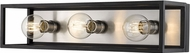 Z-Lite 480-3V-MB-BN Kube Contemporary Matte Black / Brushed Nickel 3-Light Bath Wall Sconce