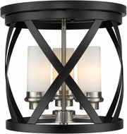 Z-Lite 481F13-MB-BN Malcalester Modern Matte Black / Brushed Nickel Flush Mount Light Fixture