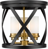 Z-Lite 481F13-MB-OBR Malcalester Modern Matte Black / Olde Brass Flush Mount Lighting Fixture