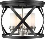 Z-Lite 481F16-MB-BN Malcalester Contemporary Matte Black / Brushed Nickel 16  Flush Ceiling Light Fixture