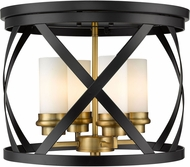 Z-Lite 481F16-MB-OBR Malcalester Contemporary Matte Black / Olde Brass 16  Flush Mount Ceiling Light Fixture