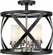 Z-Lite 481SF15-MB-BN Malcalester Modern Matte Black / Brushed Nickel Overhead Lighting Fixture