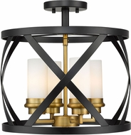 Z-Lite 481SF15-MB-OBR Malcalester Contemporary Matte Black / Olde Brass Ceiling Lighting