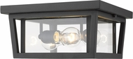 Z-Lite 571F-BK Seoul Black Exterior Flush Mount Ceiling Light Fixture