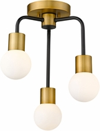 Z-Lite 621-3SF-MB-FB Neutra Contemporary Matte Black / Foundry Brass Ceiling Lighting Fixture