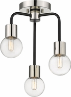 Z-Lite 621-3SF-MB-PN Neutra Contemporary Matte Black / Polished Nickel Ceiling Light Fixture