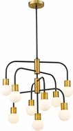 Z-Lite 621-9MB-FB Neutra Modern Matte Black / Foundry Brass Chandelier Light