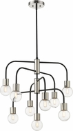 Z-Lite 621-9MB-PN Neutra Contemporary Matte Black / Polished Nickel Ceiling Chandelier