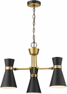 Z-Lite 728-3MB-HBR Soriano Contemporary Matte Black / Heritage Brass Mini Chandelier Light