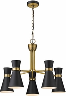 Z-Lite 728-5MB-HBR Soriano Contemporary Matte Black / Heritage Brass Lighting Chandelier