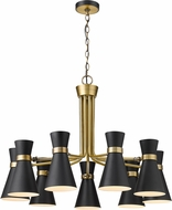 Z-Lite 728-9MB-HBR Soriano Contemporary Matte Black / Heritage Brass Chandelier Light