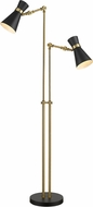 Z-Lite 728FL-MB-HBR Soriano Contemporary Matte Black / Heritage Brass Floor Light