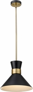Z-Lite 728P13-MB-HBR Soriano Contemporary Matte Black / Heritage Brass Pendant Light