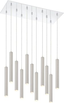 Z-Lite 917MP12-BN-LED-11LCH Forest Contemporary Satin Nickel LED Multi Hanging Lamp