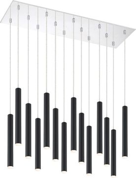 Z-Lite 917MP12-MB-LED-14LCH Forest Modern Matte Black LED Multi Hanging Light Fixture