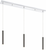 Z-Lite 917MP12-PBL-LED-3LCH Forest Contemporary Pearl Black LED Multi Pendant Hanging Light