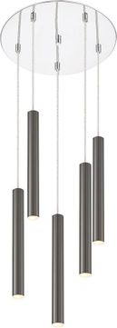 Z-Lite 917MP12-PBL-LED-5RCH Forest Contemporary Pearl Black LED Multi Drop Lighting