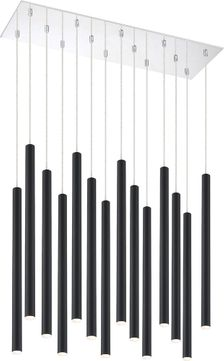 Z-Lite 917MP24-MB-LED-14LCH Forest Contemporary Matte Black LED Multi Lighting Pendant