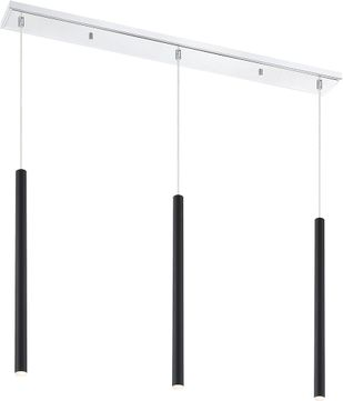 Z-Lite 917MP24-MB-LED-3LCH Forest Contemporary Matte Black LED Multi Pendant Light Fixture