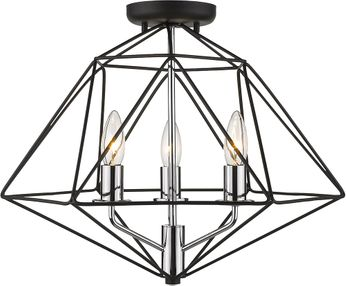 Z-Lite 918SF-MB-CH Geo Modern Matte Black and Chrome Flush Mount Lighting