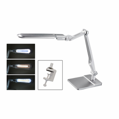 LED Double Reach Clamp Lamp with Base, Silver, 110V