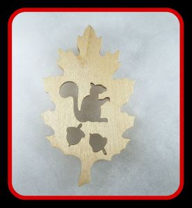 Oak Leaf with Squirrel