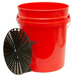 5 Gallon Professional Wash Bucket with Grit Guard  <font color=red>Available in red, clear and black.</font>