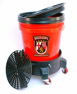 Wolfgang 5 Gallon Wash Bucket System with Dolly  <font color=red>Available in red, clear and black.</font> <font color=red> <strong> ON SALE! </strong> </font>