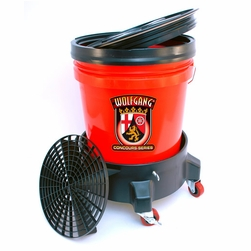 Wolfgang 5 Gallon Wash Bucket System with Dolly  <font color=red>Available in red, clear and black.</font>