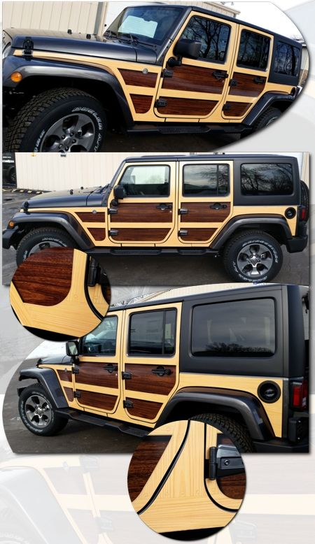 2007 2019 Jeep Wrangler Unlimited Wood Panel Graphics Kit 1