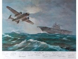 """0820, April 1942<br> By Raymond Moak<br>23 Doolittle Raider Signatures <br> Including General Doolittle<br><b style= """"color: blue; font-weight:bold,"""">     Doolittle Raid<br></b>"""