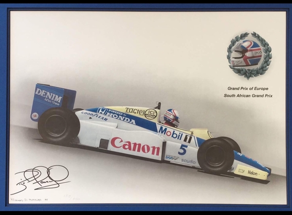 "<big><center>""1985 Williams-Honda South Africa Grand Prix Champion"" by Rosemary Hutchings<br> Nigel Mansell Signed</big></center>"