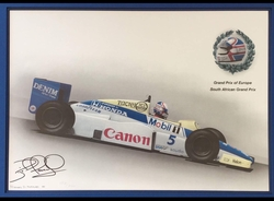 """<big><center>""""1985 Williams-Honda South Africa Grand Prix Champion"""" by Rosemary Hutchings<br> Nigel Mansell Signed</big></center>"""