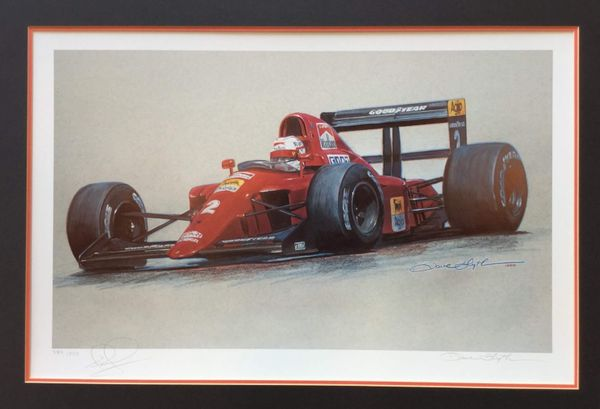 "<big><center>""1990 Ferrari"" by Dave Blyth<br>Limited Edition number 589 of 850<br> Nigel Mansell Signed"