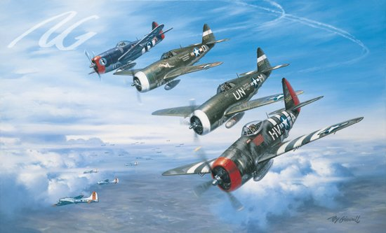A Wolfpack Salute<br> By Roy Grinnell <br> Signed by 3 56th Fighter Aces<br>