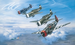 A WOLFPACK SALUTE by ROY GRINNELL <br> Signed by 3 56th Fighter Aces<br>