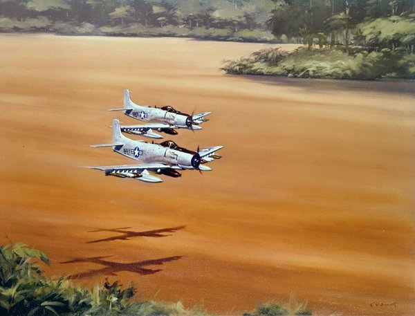 AD Spads Patrolling A River  In Vietnam<br>