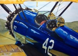 Blue Stearman by NEW ARTIST <br> Walt Costilow
