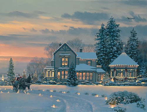 CHRISTMAS EVE AT THE WINCHESTER IN by BILLPHILLIPS<br>Giclee Canvas <br>(2 Left)