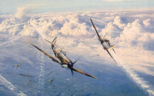 "<big><center> ""Combat Over London"" by Robert Taylor<br>Six Famous Battle of Britain Ace Signatures</big></center>"