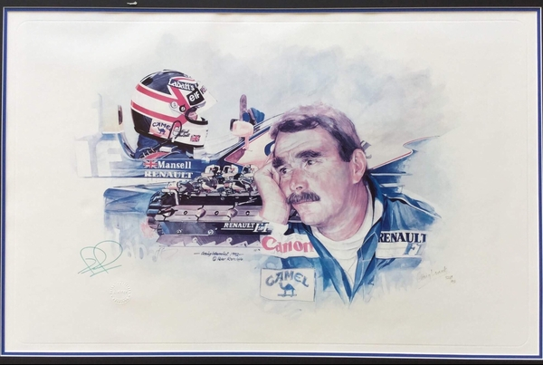 "<big><center> ""Craig Warwick, Man and Machine"" by Peter Ratcliffe<br>#502 of 850<br> signed by Nigel Mansell, Craig Warwick.</big></center>"