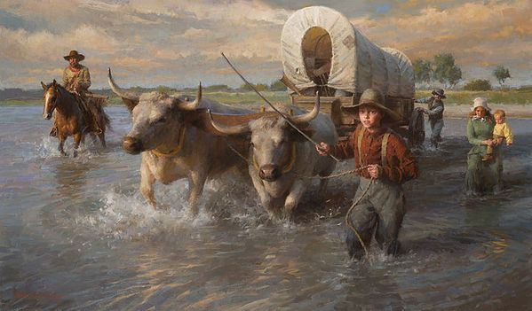 Crossing The Cheyenne River, Summer 1850 by Morgan Wesitling