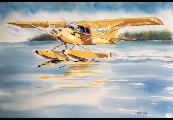 """CUB ON FLOATS"" by JANET ARCHIBALD - Original Watercolor"