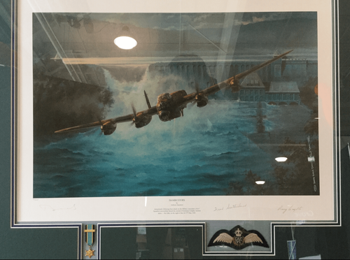 "<big><center> ""Dambusters""<br> by Anthony Saunders<br>Two Dambusters Signatures</big></center>"